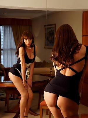 Super Hot & Super Hung Shemale Mariana Cordoba in drunk strip tease